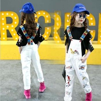 Baby Girls Denim Overalls Spring autumn Fashion New Children Clothing Kids Casual suspender trousers cartoon jeans short 5-16 Y 1