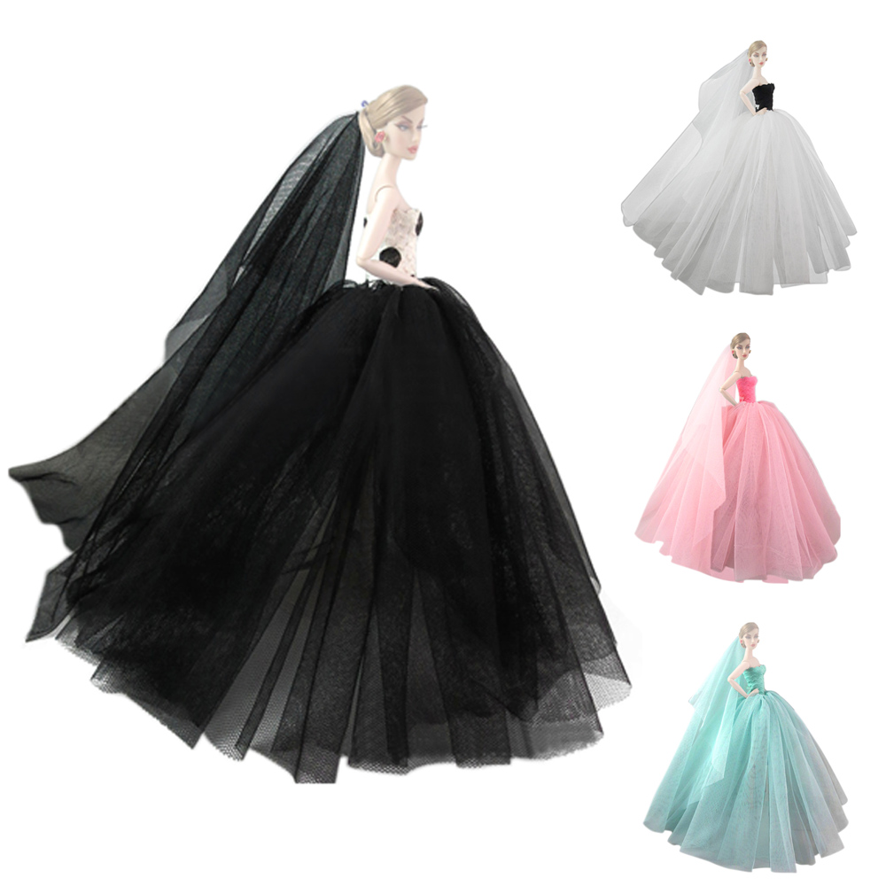 Black Ball Gown Wedding Dress w// Lace Trim Skirt for 11.5 inches Doll