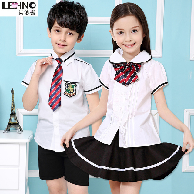 e7fe8f8d87 Primary School Uniforms Cotton Girls and Boys School Clothes Kindergarten Students  Wear Summer Short Sleeved Shirt+Skirt 3t-12y