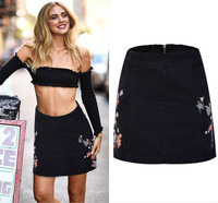 High Waist Embroidered Jeans Skirts Women 2017 Spring Summer Europe Fashion Black Maxi Skirt Mujer Cotton