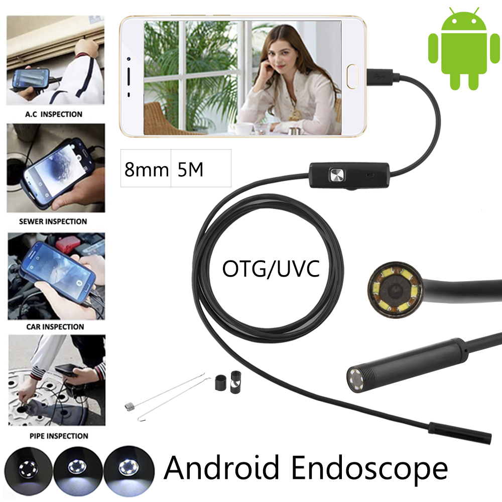 JCWHCAM5m 8mm Android Phone OTG Micro USB Endoscope 2MP HD Waterproof Borescope Industrial Inspection Snake Tube Camera 7mm lens mini usb android endoscope camera waterproof snake tube 2m inspection micro usb borescope android phone endoskop camera