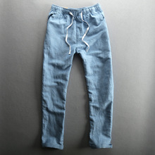 WMSHUO High Quality Men's Summer Casual Pants Natural Cotton