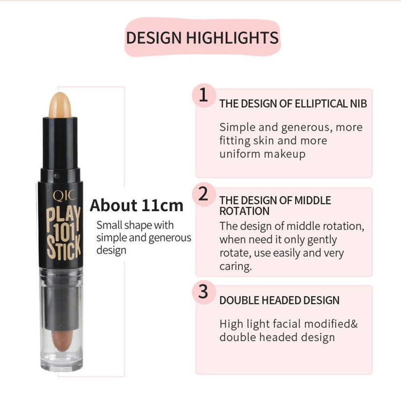 QIC Double Facial concealer pen high light cosmetic concealer bar for women Face Foundation beauty make up