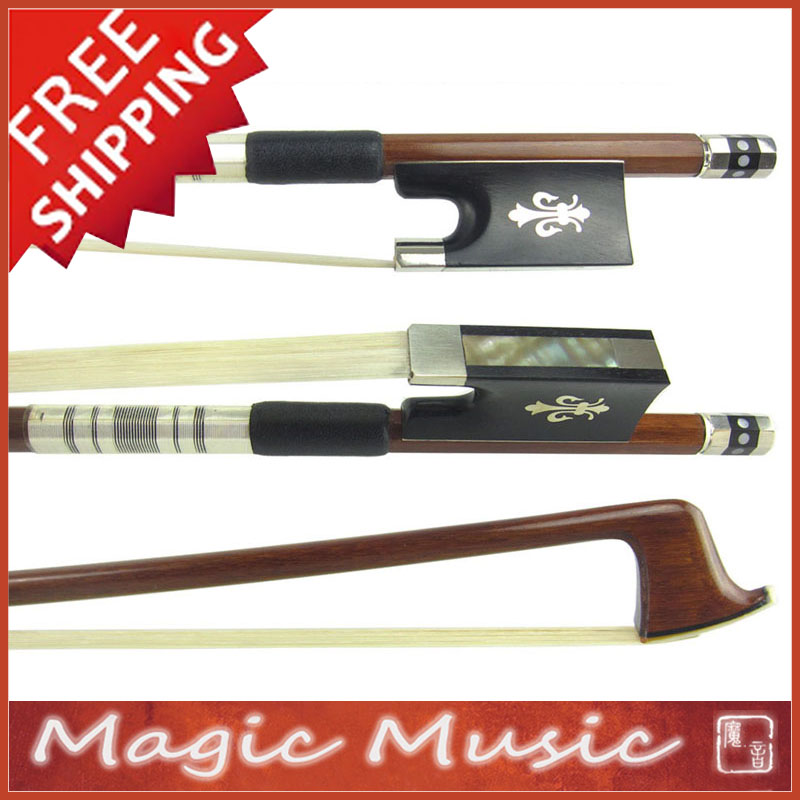 Free Shipping SILVER PERNAMBUCO Violin Bow with Fleur de Lys Inlaid Ebony Frogs Size 4 4