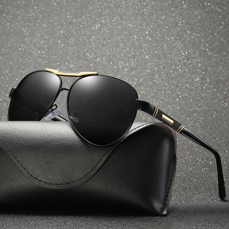 2018 גברים מקוטב משקפי שמש UV400 צבע עדשה שחורה סגלגלים מראה עם קופסא, תיק