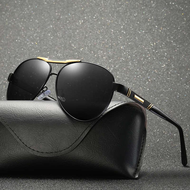 2018 hombres polarizadas espejo Oval gafas de sol negro Color de lente UV400 con caja caso