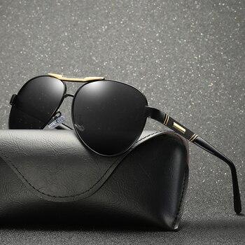 2018 hommes lunettes de soleil polarisées miroir ovale lentille noire couleur UV400 avec boîte, étui