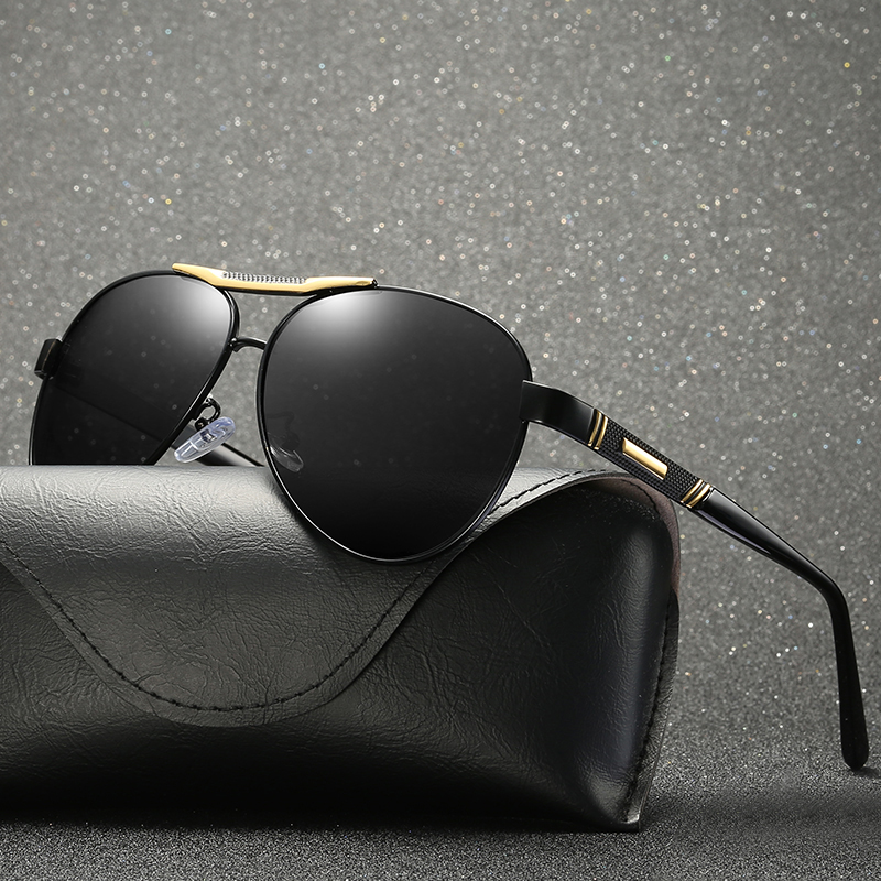 Sunglasses For Men Polarized UV400 Metal Frame Glasses Black Lens With Box,Case|Men's Sunglasses| - AliExpress