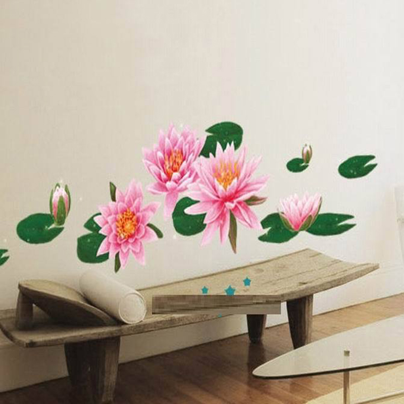 1 Pcs Flower Wall Sticker DIY Lotus Home Decoration Accessories Bedroom  Decoration Make Your Own Wall Decal Pink QT0452 In Wall Stickers From Home  U0026 Garden ... Part 48