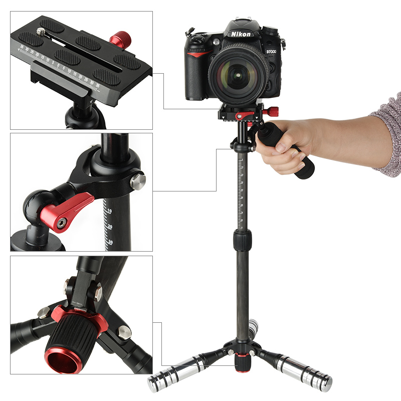 2017 New Handheld Carbon Fiber Adjustable Video Stabilizer System with Quick-Release Plate for DSLR Cameras & Camcorders huan nuo