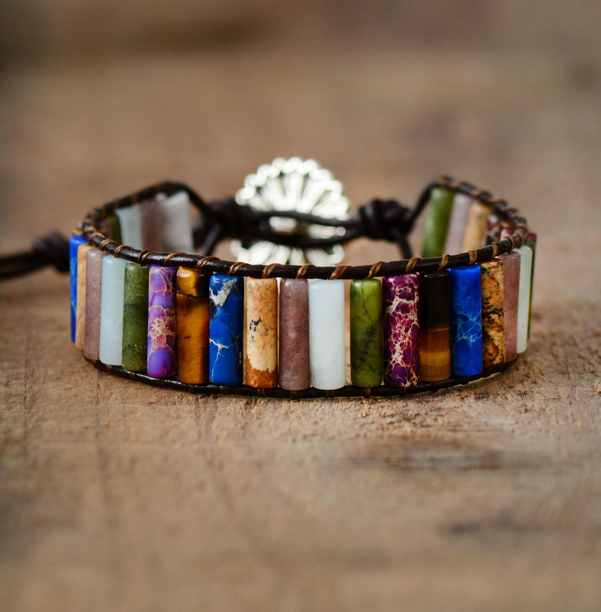 Bracelets Bangeles Tube Shape Natural Stones Single Leather Wrap Bracelet Semiprecious Stone Bohemian Bracelets Dropship bracelet