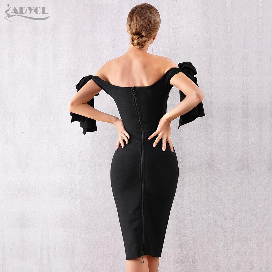 Image 5 - Adyce 2019 New Summer Women Bandage Dress Vestido Black Slash Neck Celebrity Party Dress Elegant Off Shoulder Bodycon Club Dress-in Dresses from Women's Clothing