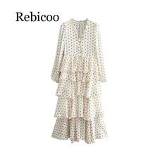 Vintage Sweet Polka Dot Print Ruffles Long Dress Women 2019 Fashion V Neck Sleeve Ladies Dresses Casual Vestidos Mujer