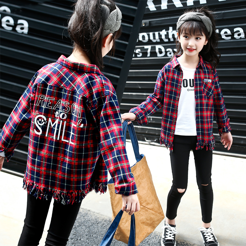 Blouse Baby Girl In School Wear 2018 Autumn Student Plaid Long Sleeve Shirt Big Girls Clothes 4 5 6 7 8 9 10 11 12 13 Years Tops 2017 autumn girls dresses 3 4 5 6 7 8 9 10 years long sleeve plaid dress for girl clothes cotton pattern baby children clothing