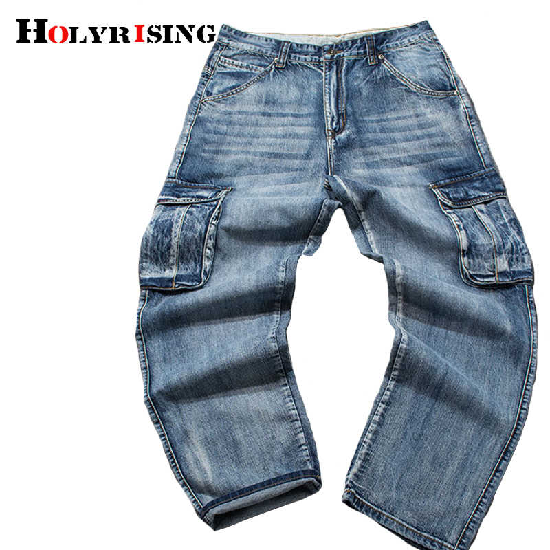 Holyrising Men Jeans Pants Casual Cotton Denim Trousers Multi Pocket Cargo Jeans Men New Fashion Denim Pants Big size 18665-5