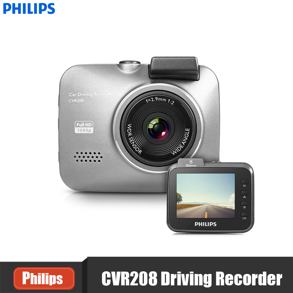 PHILIPS CVR208 2.4 Inch 140 Degree Mini Dash Cam 1920 X 1080P HD Driving Recorder Support Night Vision Motion Detection DVR