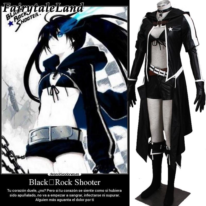 QaoQan Black Rock Shooter Cosplay BRS  Kuroi Mato Cosplay Hoodie costume