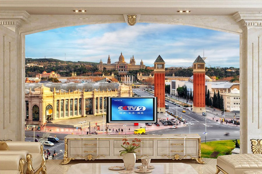Papel De Parede Spain Houses Roads Barcelona Street Cities Wallpapers Living Room Sofa TV Wall Bedroom