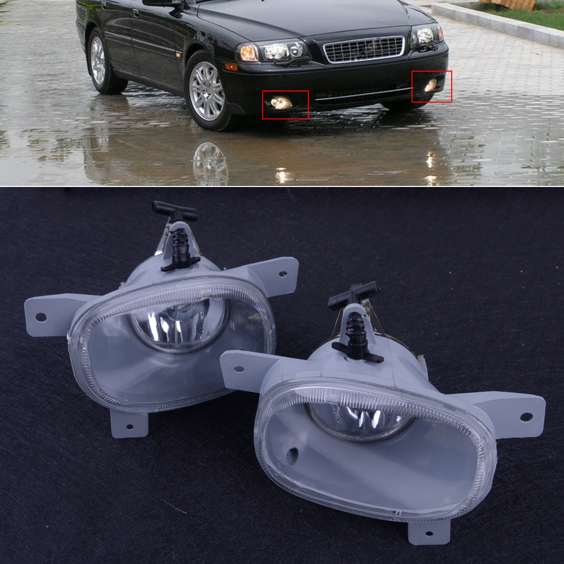 CITALL 1Pair Left Right Front Bumper Fog Light Lamp 8620224 8620225 Fit For Volvo S80 1999