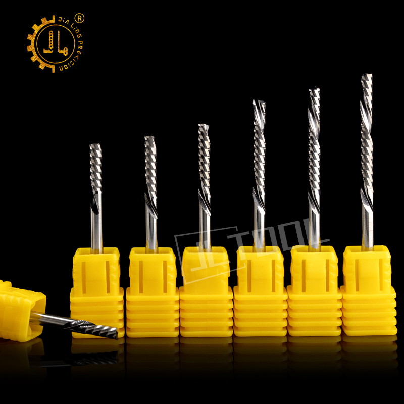 JIALING 1PC 3.175mm One Spiral Flute Bits  Milling Cutter Cnc  For MDF  PVC  Plywood Cork Down Cut Carbide End Mill