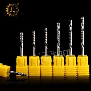Image 1 - JIALING unten cut 1PC 3,175mm eine spirale flöte bits fräser cnc für MDF PVC sperrholz kork unten cut hartmetall schaftfräser