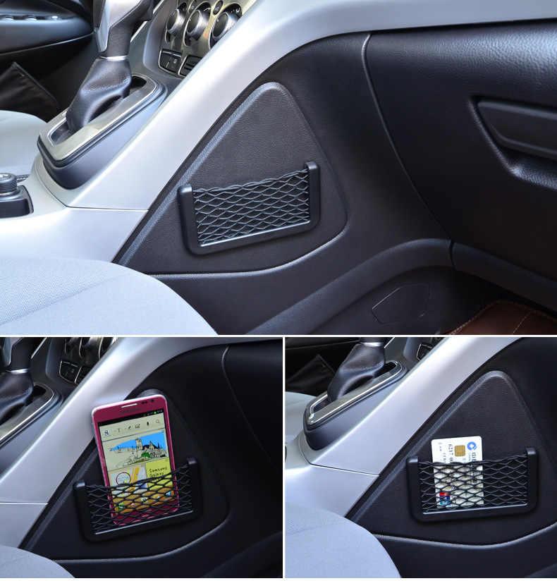 Urijk kreatywne małe torby do przechowywania siatki samochodowej torba z siateczką mocna magiczna taśma rozmaitości narożniki uchwyt do przechowywania samochodu organizator