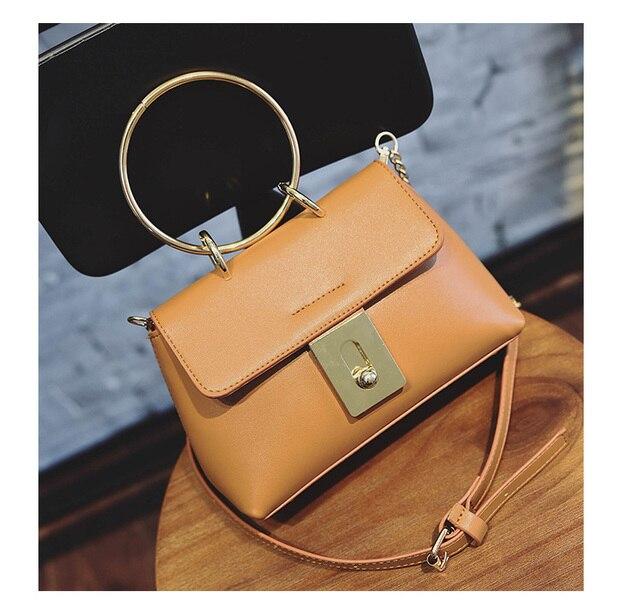 US $17.99 |Vrouwen Metalen ring Classic kettingen tassen unieke designer merk schoudertassen vrouwen lederen handtassen in Vrouwen Metalen ring