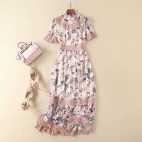 Women short sleeve floral patterns print summer dress patchwork chiffon lace elegant midi dresses pink blue 2019 new