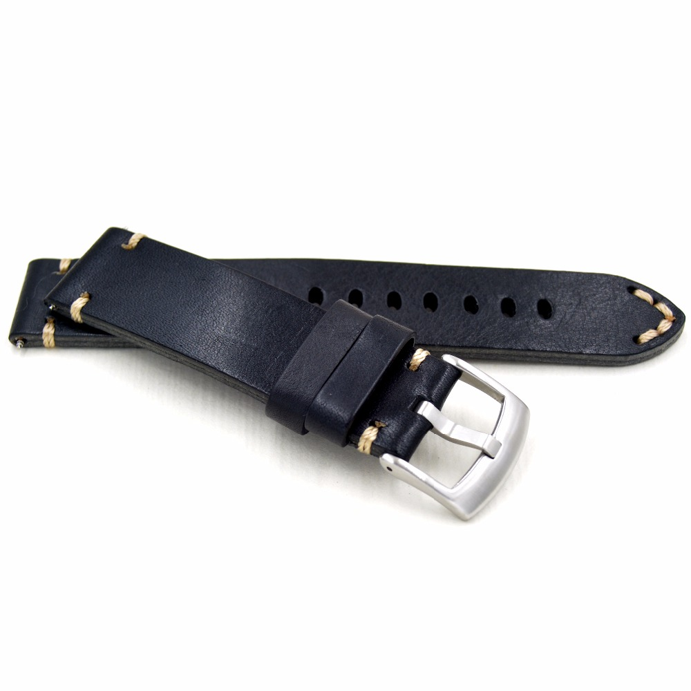 High Quality Handmade Retro 18 19 20 22mm Men Handmade Black Brown Retro Genuine Leather Strap Silver Buckle Band For Army Watch