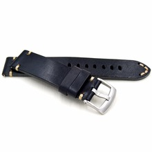 2018 High quality handmade retro 20 22 mm Men Handmade Black Brown Retro Genuine Leather Strap Silver Buckle band for Army Watch