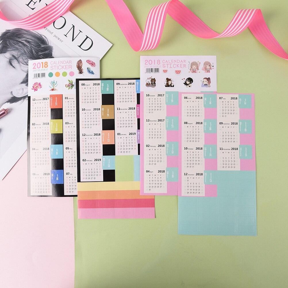 Honest 11.5*21cm 2018 Calendar Kawaii Cartoon Calendar Index Sticker Diy Decorate Sticker 2pcs/set Hot Sale Calendars, Planners & Cards