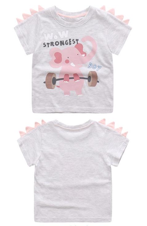 HTB1dQLDSFXXXXagXVXXq6xXFXXXP - Cute Summer New Girls Boy T-shirt Children's Bottom Kids Lovely 3D Animal Cartoon Shirt Baby Clothes, Dinosaur/ Bear/ Elephant