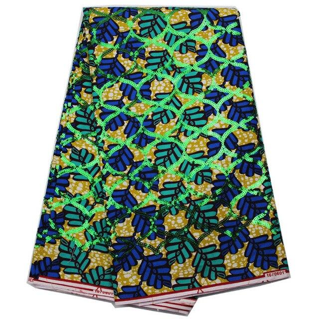 Haute Qualité Design Moderne Africaine Cire Tissu Avec Paillettes