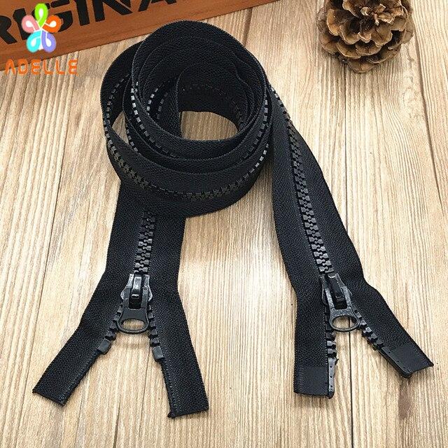 69707b2b87a 2 unidades n° 8 resina plástica cremallera 100-600 cm color negro extremo