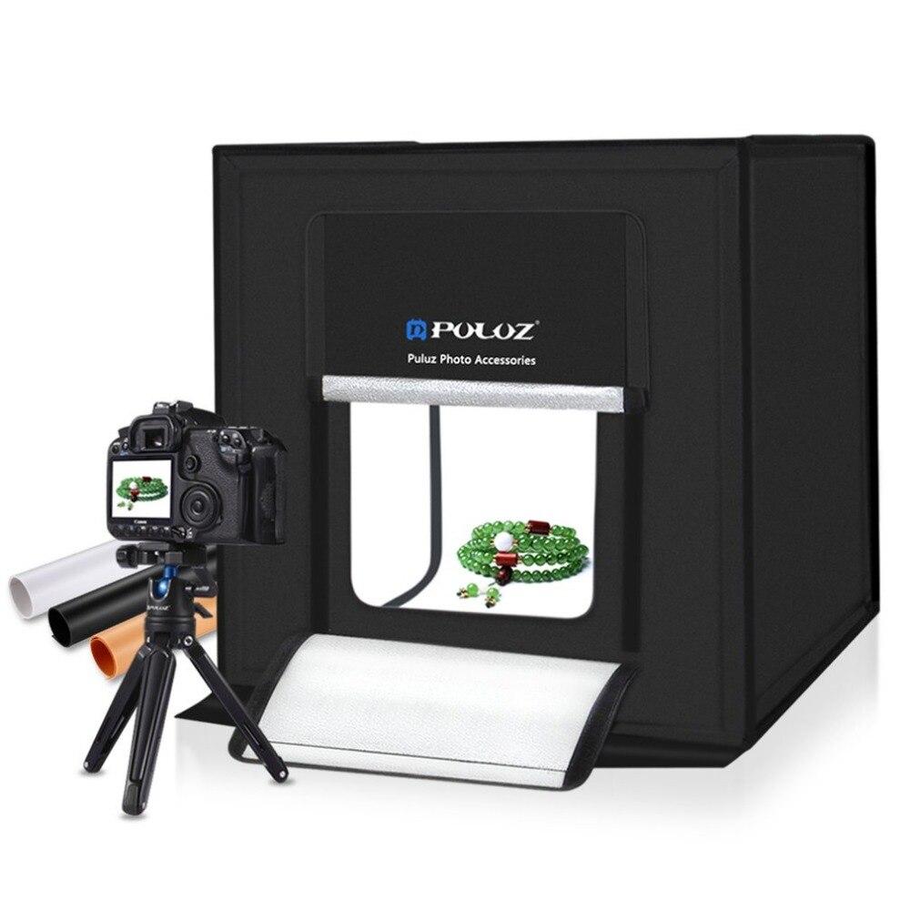 PULUZ 40*40 cm Photographie Boîte à Lumière Mini Photo Studio Lightbox Pliable Softbox LED Photo Éclairage Studio Tir Tente boîte Kit