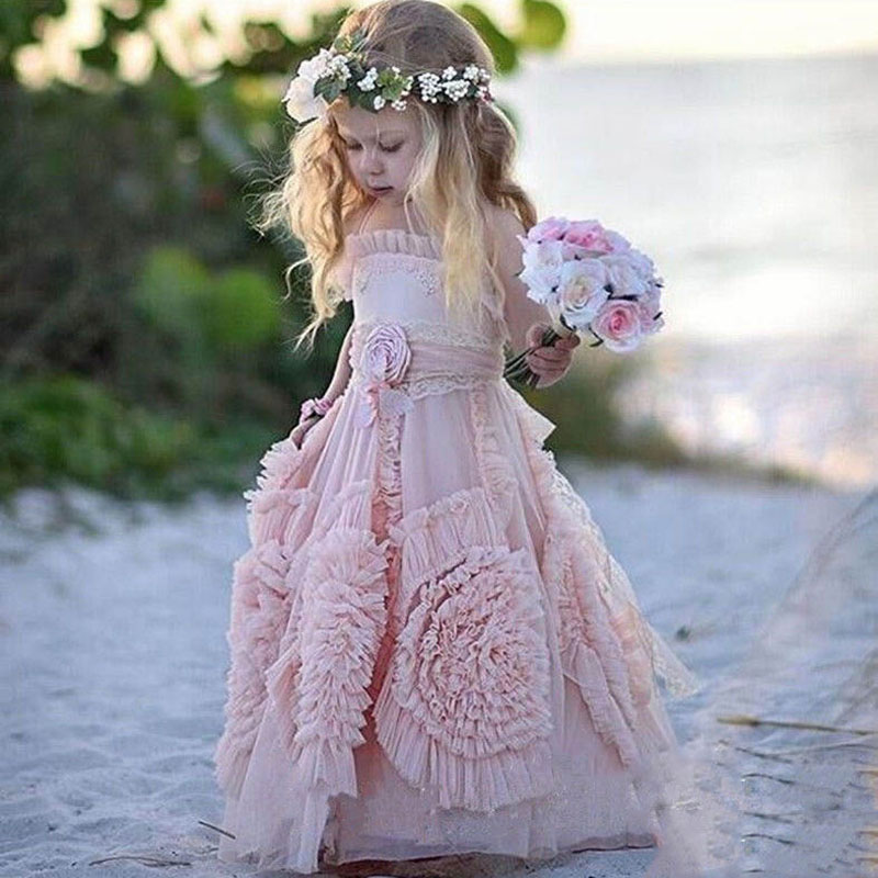 Lovely Blush Pink Halter Beach Tulle   Flower     Girl     Dresses   For Wedding 2019 Beautiful Backless Boho Kids Birthday Party Gowns