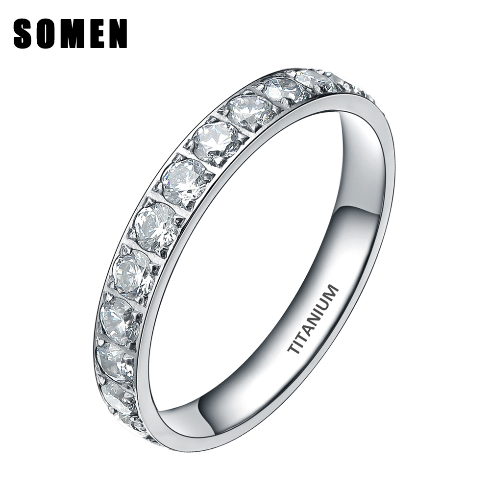 3MM Titanium Luksus Cubic Zirconia Kvinner Bryllup Ring Ladies Eternity Engasjement Rings Promise Smykker Drop Shipping bague femme