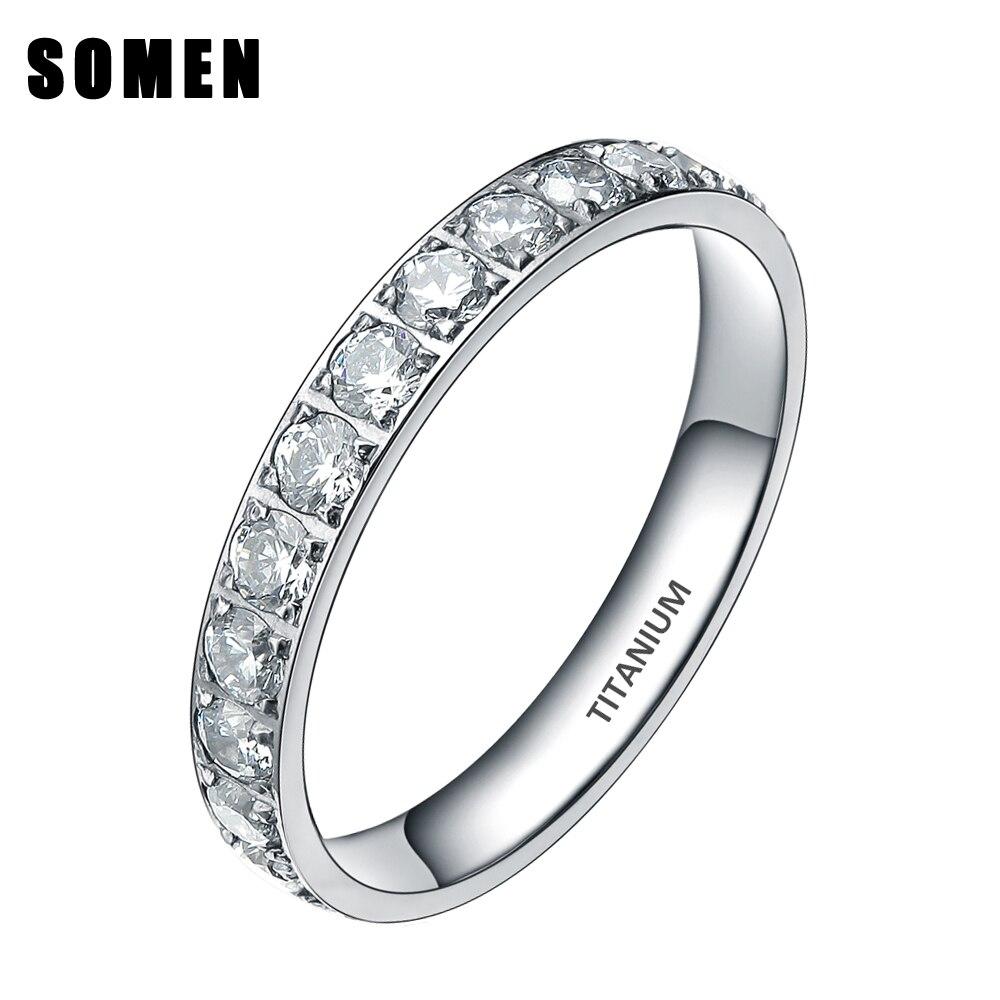 3MM Titanium Luxury Cubic Zirconia Women Wedding Ring Ladies Eternity Engagement Rings Promise