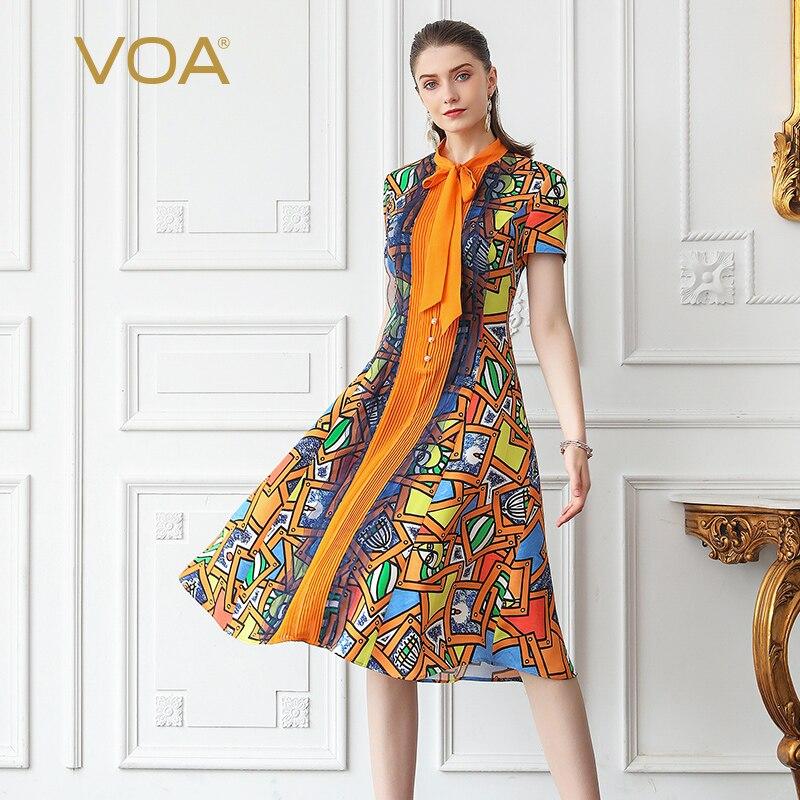 VOA тяжелый шелк платье элегантное, миди жемчуг пуговицы лук ленты женские летние шорты рукавом тонкий мультфильм печатных Одежда A753