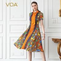 VOA Heavy Silk Midi Dress Elegant Pearl Buttons Bow Ribbons Ladies Summer Short Sleeve Slim Cartoon Printed Slim Clothes A753