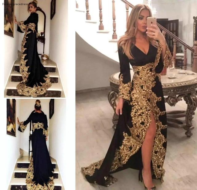 Black V Neck Long Sleeves Evening Dresses 2019 New Arrival Gold Appliques Holiday Wear Formal Party Prom Gowns Plus Size