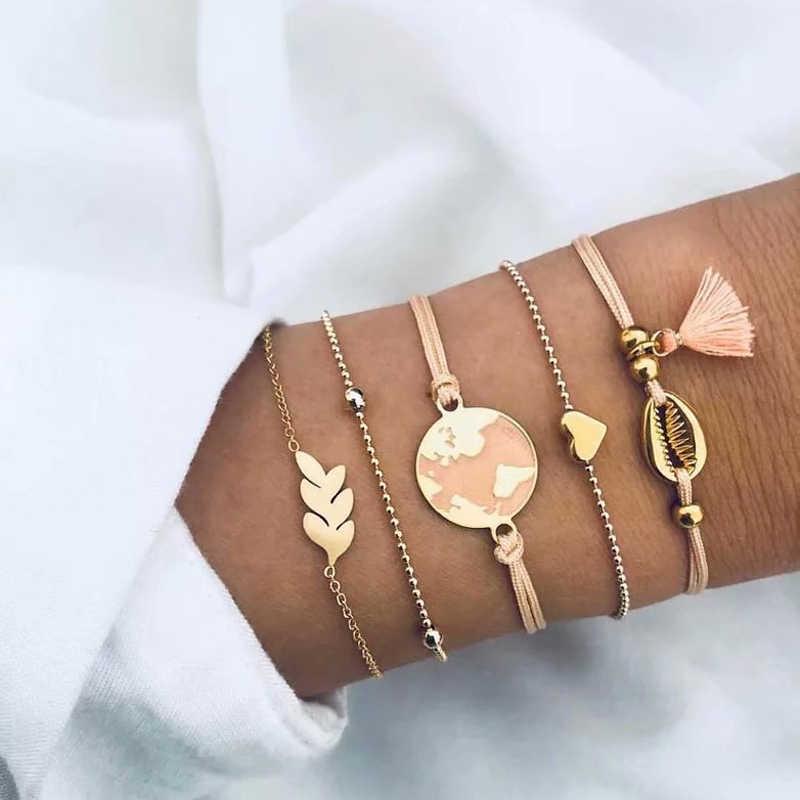 ZOSHI 5 Pcs/Set Boho Women Heart Tassels Leaf Map Tortoise Gold Silver Chain Bead Leather Bracelet Set Charm Fashion Accessories