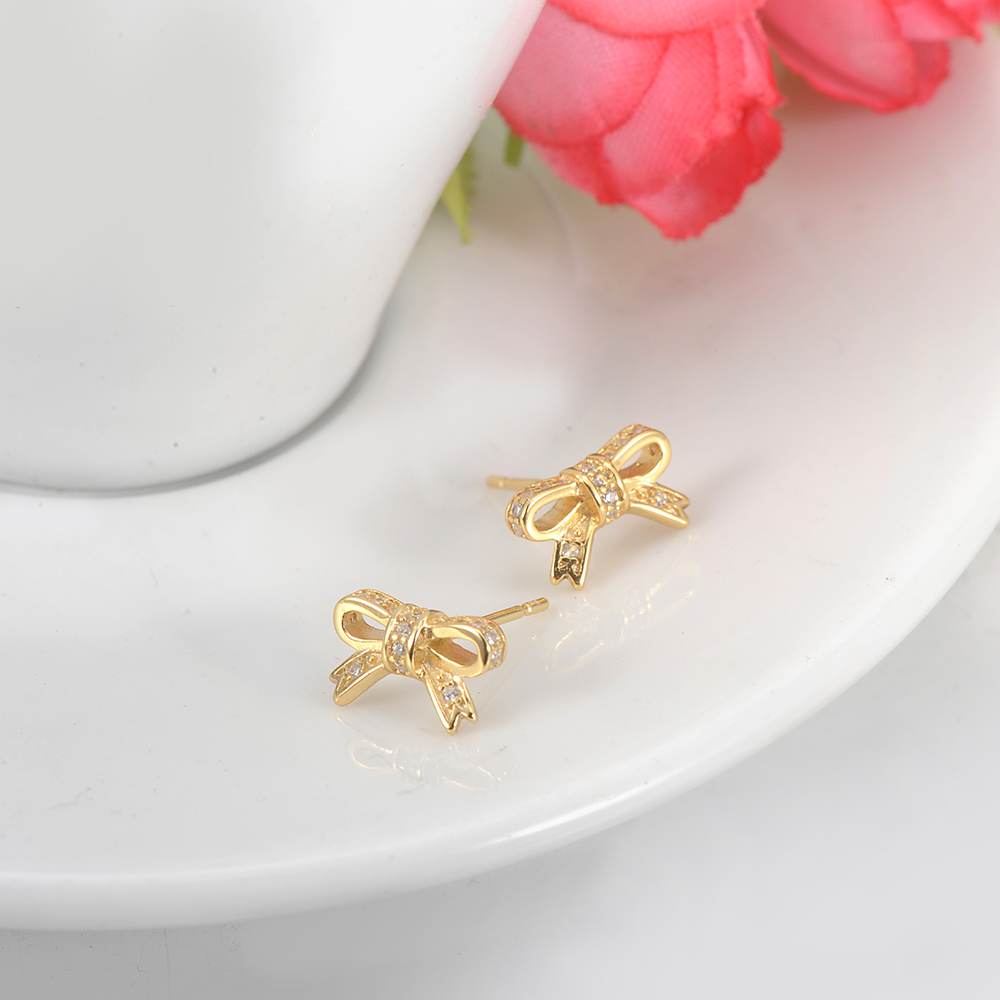 LZESHINE 100% 925 Sterling Silver/Gold Sparkling Bow Stud Earrings With Clear CZ Jewelry Brincos PSER0025