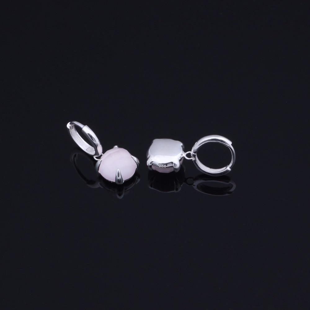 Natural Rose Quartz 10mm 925 Sterling Silver Hook Earrings.Handmade