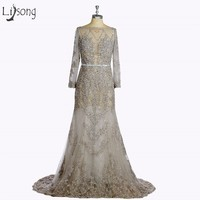 Luxury Middle East Gray Evening Dress 2017 Shiny Crystal Lace Mermaid Long Prom Gowns Full Sleeves Boat Neck Abendkleider A029