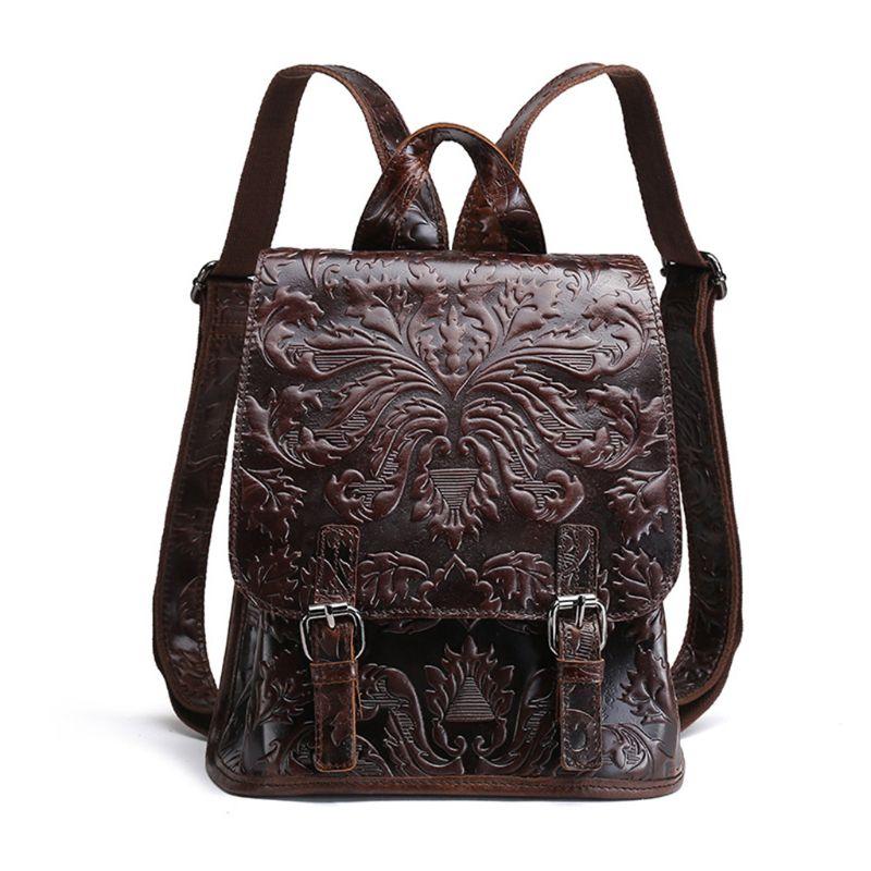 Women Embossed Genuine Leather Vintage Backpack Shoulder Bag School Travel bag Rucksack-X5XDWomen Embossed Genuine Leather Vintage Backpack Shoulder Bag School Travel bag Rucksack-X5XD