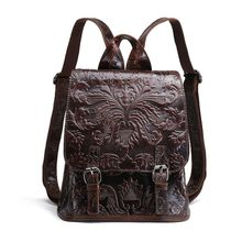 купить Women Embossed Genuine Leather Vintage Backpack Shoulder Bag School Travel bag Rucksack дешево