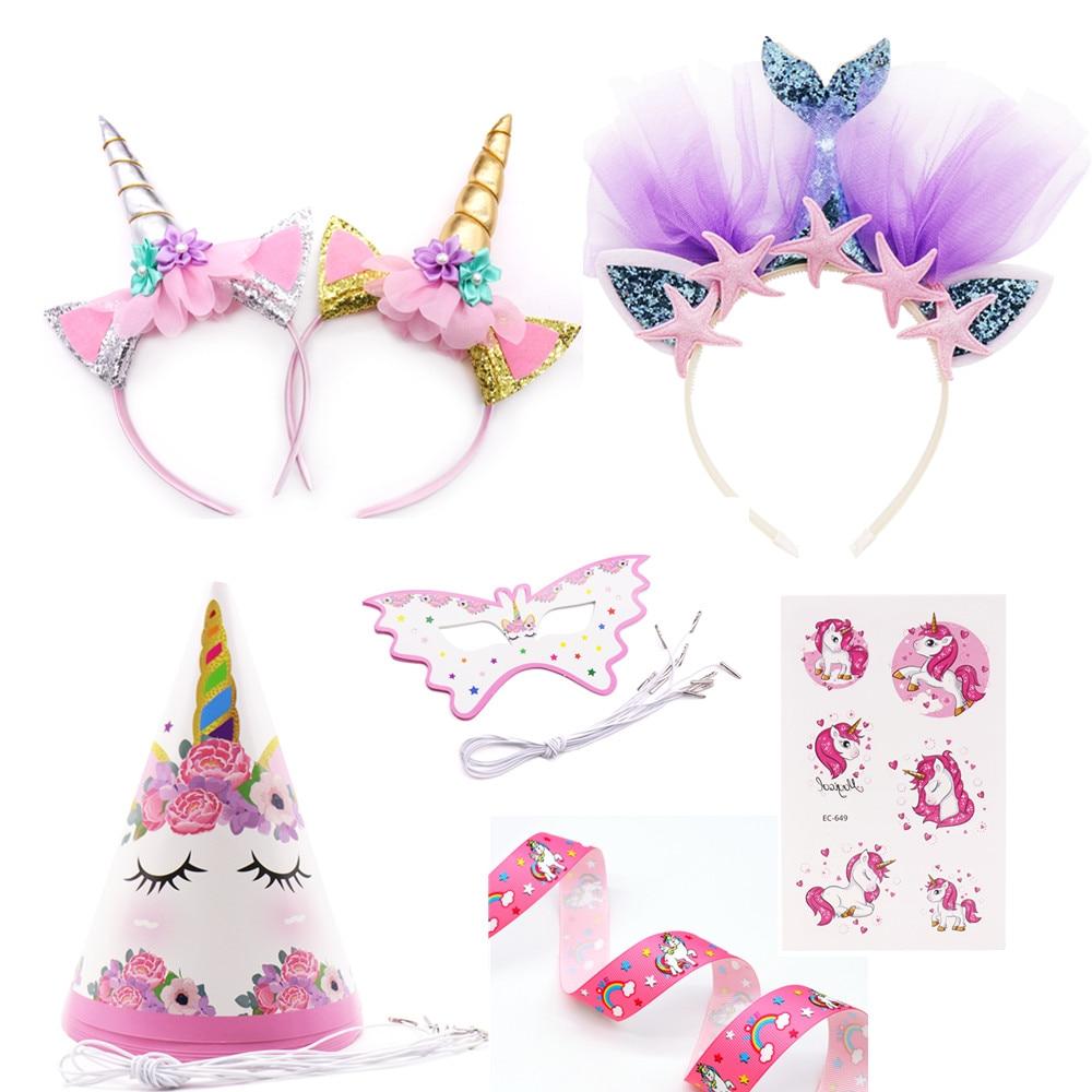 Unicornio fiesta diadema chicas Favor sirena banda de pelo unicornio cinta pelo accesorios cumpleaños niños decoración suministros