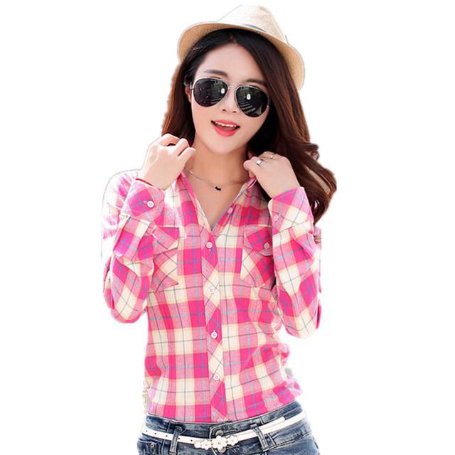 Camisas De Flanela das mulheres bolsos de algodão camisa xadrez casuais colarinho turn-down completo Primavera Queda blusas plus size M-XXL HS1531