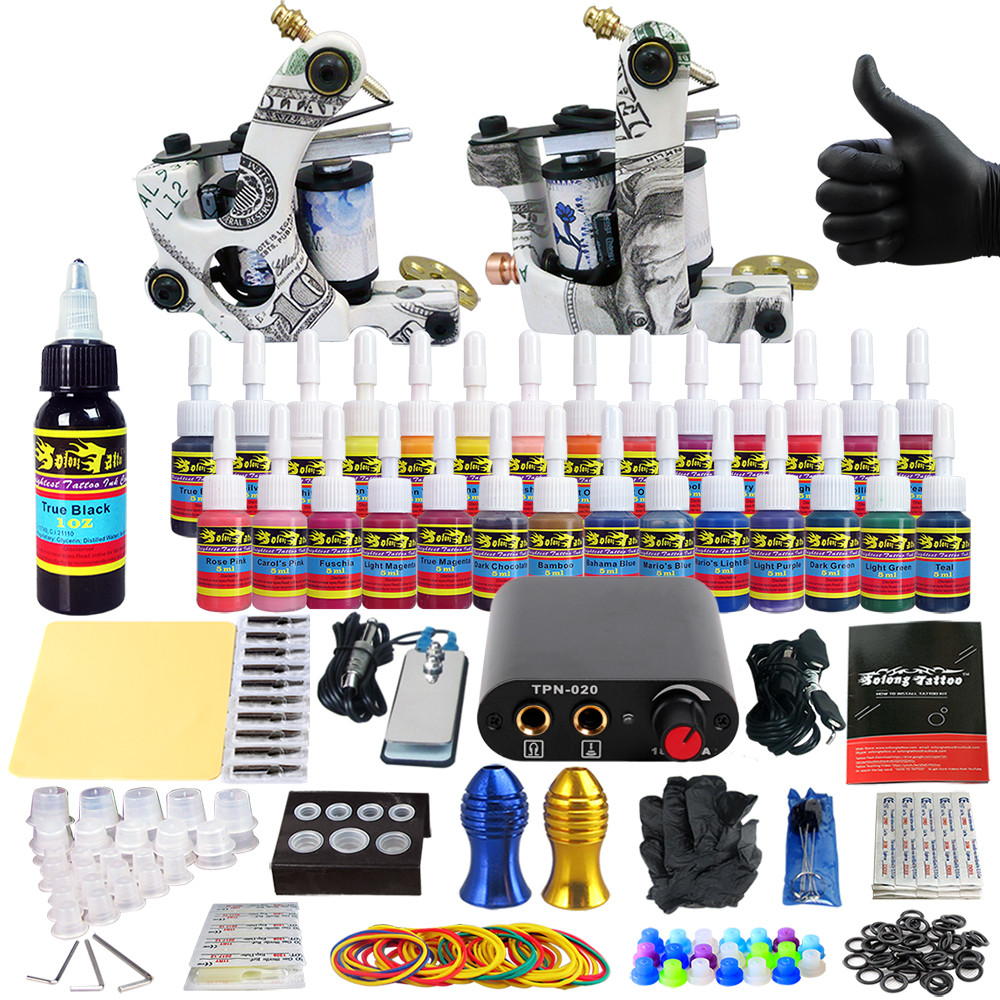 купить 1 Set Tattoo Kit 28 Inks Power Supply Needle Grips Tips Complete Tattoo Machine Set for Beginner Starter 2 Pro Machine Guns по цене 4400.12 рублей